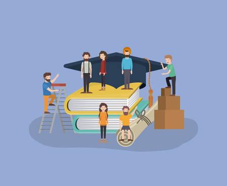 mini people with books vector illustration design