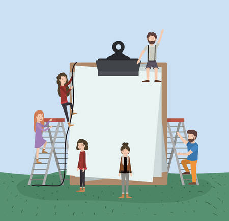 mini people with clipboard vector illustration design