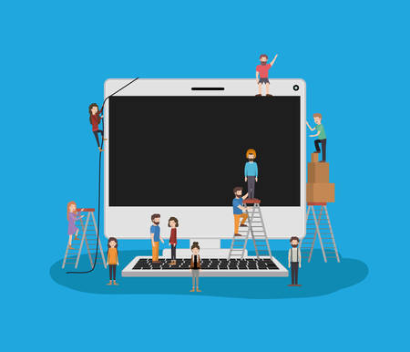 mini people with desktop computer vector illustration design