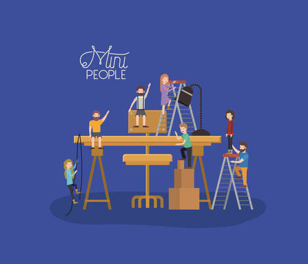 mini people with table and chair vector illustration design 向量圖像