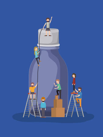 people with bottle drink vector illustration design