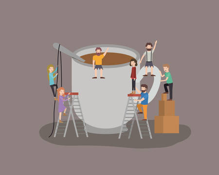 people with coffee drink vector illustration design 向量圖像