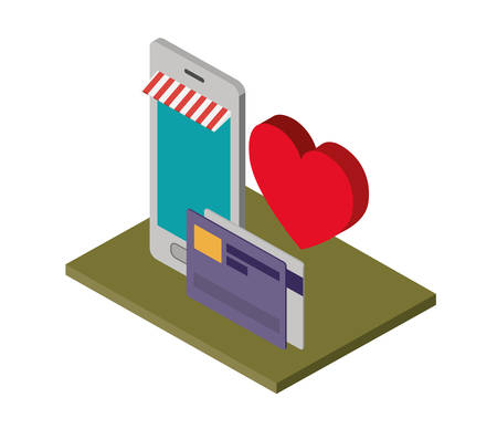 smartphone device with heart and credit card isometric icon vector illustration design