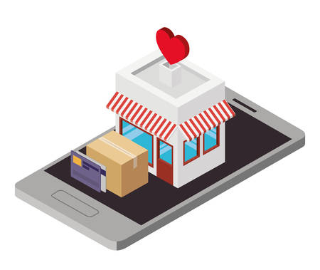 Store building with boxes carton illustration