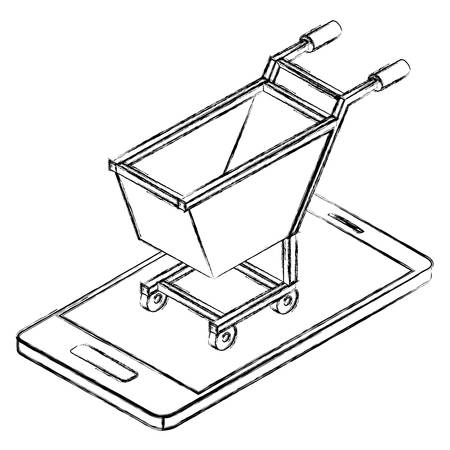 smartphone with shopping cart isometric icon vector illustration design