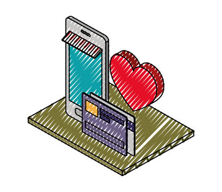 smartphone with credit card and heart isometric icon vector illustration design Illustration