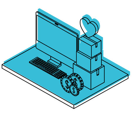 Computer with pile boxes of heart and coins isometric vector illustration design