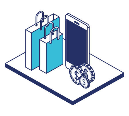 smartphone with shopping bag isometric icon vector illustration design