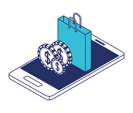 smartphone with shopping bag and coins isometric icon vector illustration design