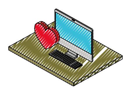 computer desktop with heart isometric icon vector illustration design Illustration