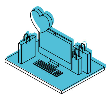 computer desktop with shopping bags and heart isometric icon vector illustration design Stock Illustratie