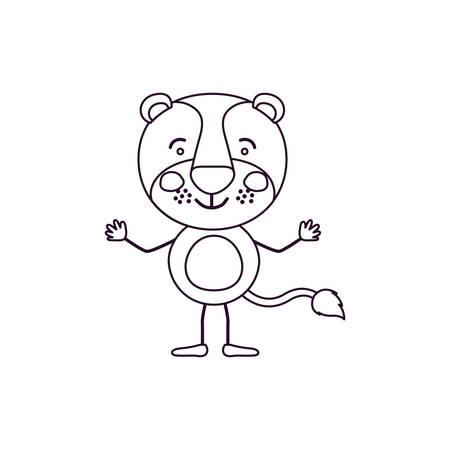 sketch contour caricature of cute tiger without stripes in happiness expression vector illustration