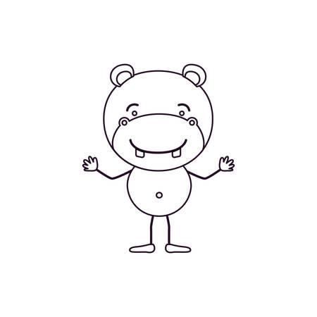 sketch contour caricature of cute hippopotamus tranquility expression vector illustration