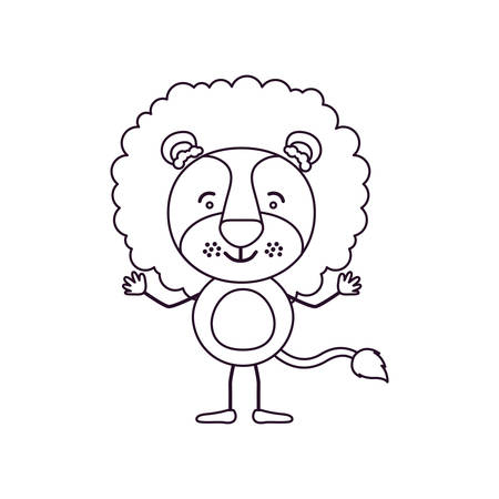 sketch contour caricature of cute lion happiness expression vector illustration