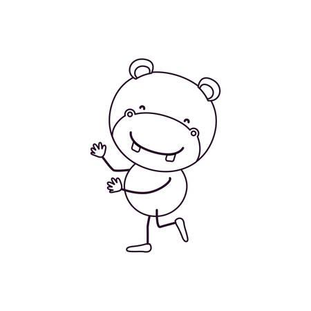 sketch contour caricature with cute hippopotamus dancing vector illustration