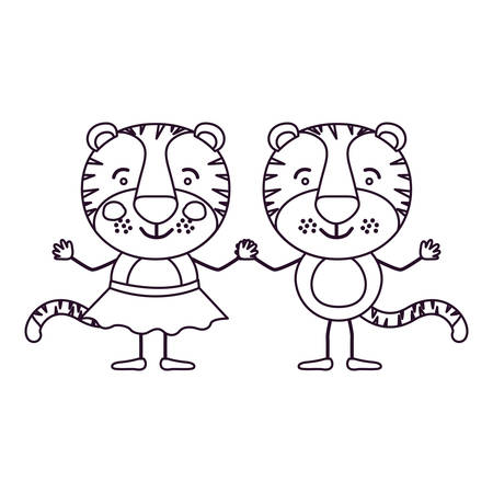 sketch contour caricature with couple of tigers holding hands vector illustration