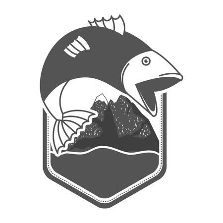 Montagne e fiume monocromatici dell'emblema della siluetta con il bigmouth del pesce che salta fuori dall'illustrazione di vettore Archivio Fotografico - 97344951