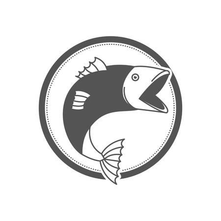 Emblema circolare della siluetta monocromatica con l'illustrazione di vettore del bigmouth del pesce Archivio Fotografico - 97344952