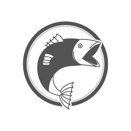 monochrome silhouette circular emblem with fish bigmouth vector illustration Vettoriali