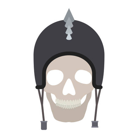 Skull with motorcyclist helmet and thorns Illustration