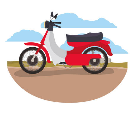Retro urban motorcycle classic in the road vector illustration design Çizim