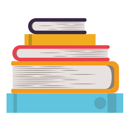 Pile books library icon vector illustration design