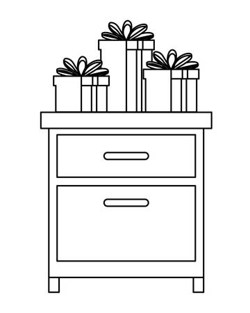 drawer with gifts boxes presents icon vector illustration design