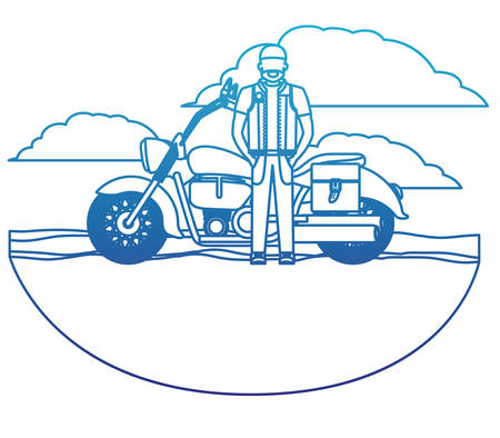 Biker in the classic motorcycle scene character vector illustration design