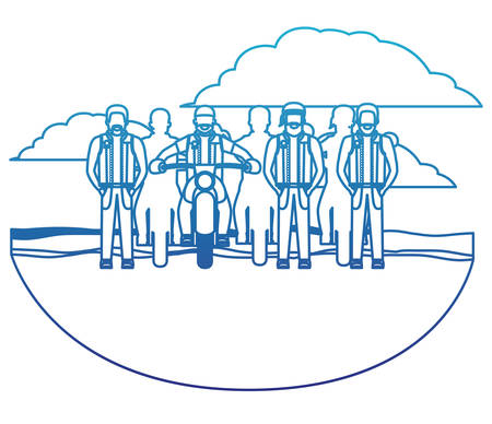 Group of bikers in the classic motorcycle scene character vector illustration design