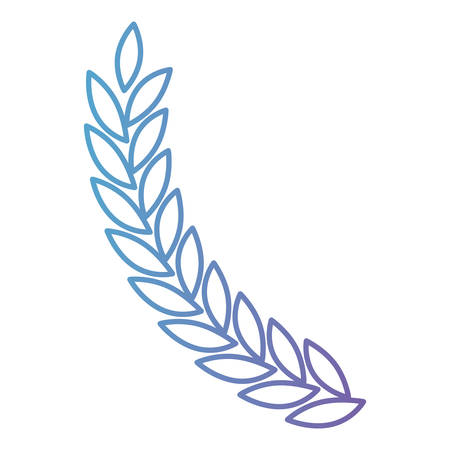 Olive branch ramification in color gradient silhouette from purple to blue vector illustration. Vectores