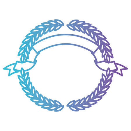 olive branches forming a circle with ribbon on top in color gradient silhouette from purple to blue vector illustration Vectores