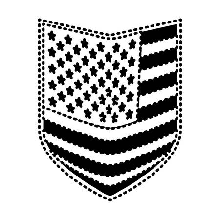 shield of flag united states of america black silhouette on white background vector illustration Illustration