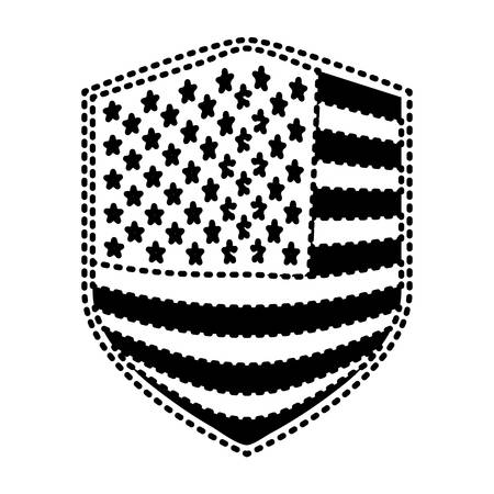 badge of flag united states of america black silhouette on white background vector illustration