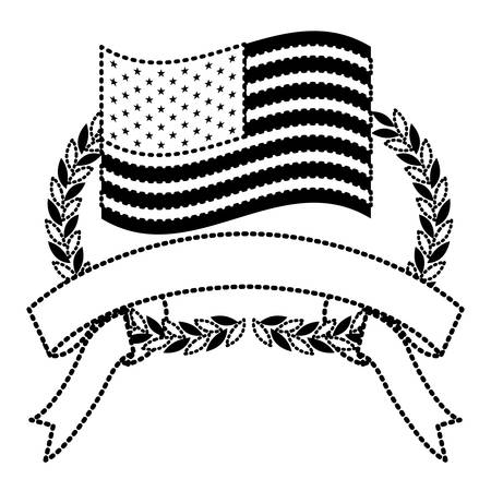 united states flag inside of olive branches bow and ribbon on bottom in monochrome dotted silhouette vector illustration Illusztráció