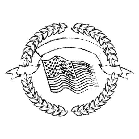 A united states flag waving inside of circle of olive branches with ribbon on top in monochrome blurred silhouette vector illustration Ilustrace