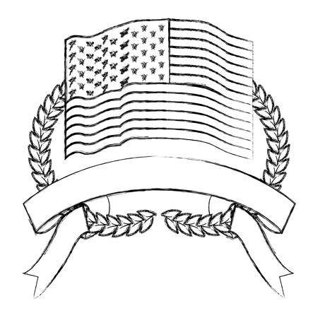 united states flag inside of olive branches bow and ribbon on bottom in monochrome blurred silhouette vector illustration