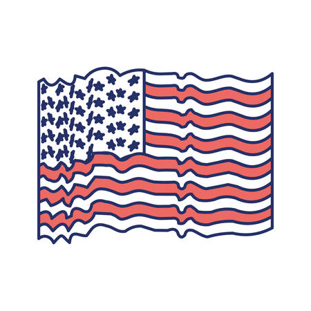 flag united states of america with several wave color sections silhouette on white background vector illustration