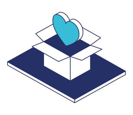 box carton with heart isometric vector illustration design Illustration