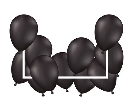 balloons air party decorative frame vector illustration design