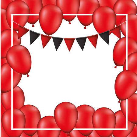 balloons air party with garlands decorative frame vector illustration design