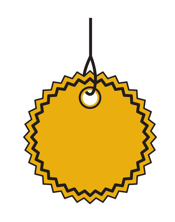 commercial hangtag with lace shape hanging vector illustration design