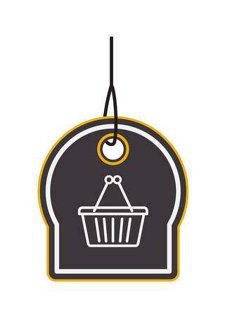commercial hangtag with shopping basket hanging vector illustration design