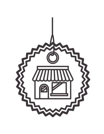 commercial hangtag with store building hanging vector illustration design