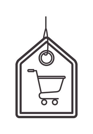 commercial hangtag with shopping cart hanging vector illustration design Vectores