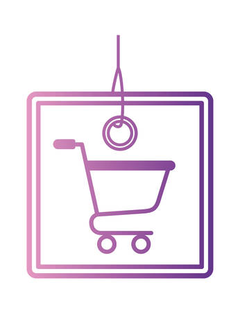 commercial hang tag with shopping cart hanging vector illustration design