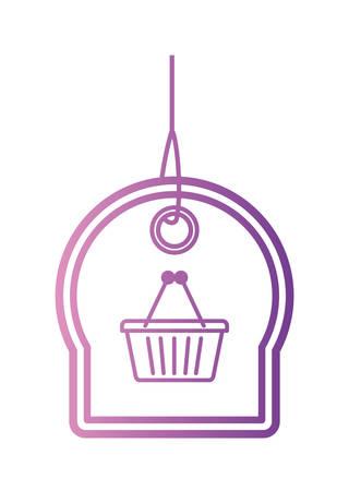 commercial hangtag with shopping basket hanging vector illustration design