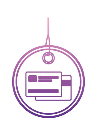commercial hangtag with credit card hanging vector illustration design