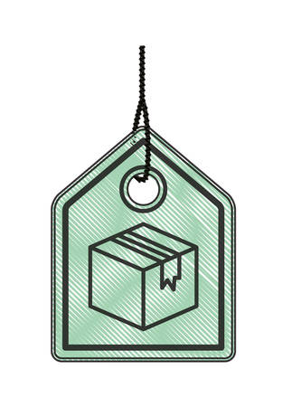 commercial hang tag with carton box hanging vector illustration design Ilustração