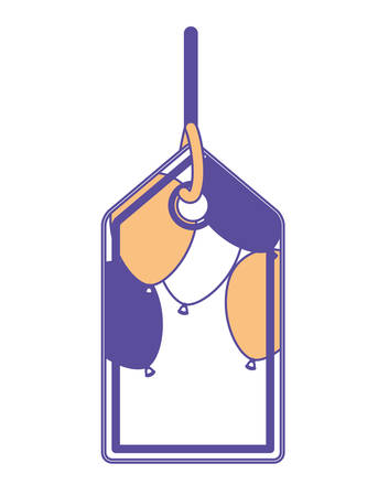 tag hanging with party balloons air vector illustration design