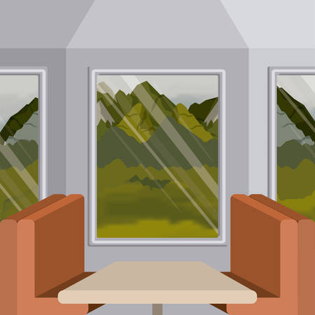 interior train with a passenger compartment and landscape scenery outside vector illustration